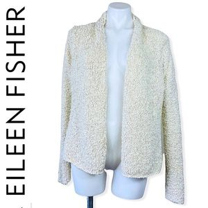 Eileen Fisher Open Front Chunky Knit Textured Bouchée Cardigan Sweater Ivory M